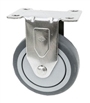 "Stainless Steel Light Duty 3""X1-1/4"" Rigid Caster Gray Rubber on Polyolefin Core"