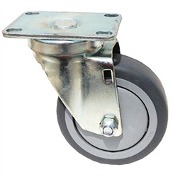 "Stainless Steel Light Duty 5""X1-1/4"" Swivel Caster Gray Rubber on Polyolefin Core"