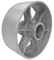 "4""x 2"" Cast Iron Semi Steel Wheel 3 spoke, Gray, Precision Ball Bearing"