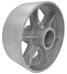 "6""x 3"" Cast Iron Semi Steel Wheel 4 Spoke Core, Silver, Roller Bearing"