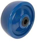 "6""x 2"" Blue Solid Cast Polyurethane Wheel, Gray, Precision Ball Bearing"