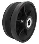 "6""x 3"" Cast Iron / Semi Steel v groove wheel, black, roller bearing"