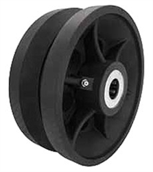"8""x 3"" Cast Iron / Semi Steel v groove wheel, black, roller bearing"