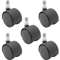 Nylon Twin Wheel Furniture / Chair Casters Black Friction Ring Stem 5 pack