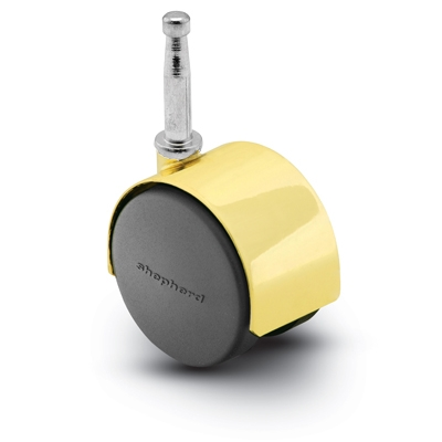Nylon Twin Wheel Furniture Caster Black Grip Neck Stem Bright Brass