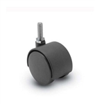 Nylon Twin Wheel Furniture Caster Black Threaded Stem