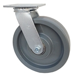"Medium Duty 8""x 2"" Swivel Caster Solid Polyurethane Blue Wheel"