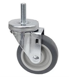"Light Duty Medium Duty 3""x 1.25"" Swivel Threaded Stem Caster TPR Grey Soft Rubber Wheel"