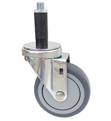"Light Duty Medium Duty 3""x 1.25"" Swivel Expandable Adapter Stem Caster Soft Rubber on Polypropylene Core Wheel"