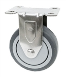 "Light Duty 3""X1-1/4"" Rigid Caster Gray Rubber on Polyolefin Core"