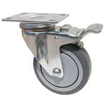 "Stainless Steel Light Duty 3""X1-1/4"" Total Lock Swivel Caster Gray Rubber on Polyolefin Core"
