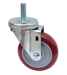 "Light Duty Medium Duty 4""x 1.25"" Swivel Threaded Stem Caster High Performance Polyurethane Wheel"
