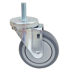 "Light Duty Medium Duty 4""x 1.25"" Swivel Threaded Stem Caster TPR Soft Gray Rubber Wheel"