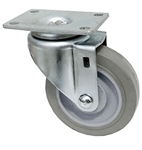 "Light Duty Medium Duty 4""x 1.25"" Swivel Caster TPR Grey Soft Rubber Wheel"