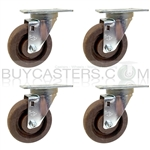"Set of 4, 4"" Bakery Rack Caster High Temp Nylon Wheel, Swivel"