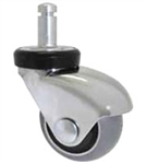 "Premium Chair and Equipment Stem Caster 2"", Chrome/ Gray Rubber, Hardwood floors"