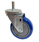 "Light Duty Medium Duty 5""x 1.25"" Swivel Grip Ring Stem Caster Polyurethane on Polypropylene Core Wheel"