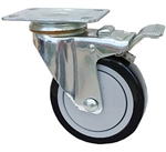 "Stainless Steel Light Duty 5""X1-1/4"" Total Lock Swivel Caster Polyurethane on Polyolefin Core"