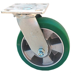 "Medium Duty 6""x 2"""" Swivel Caster Polyurethane on Aluminum Mag Wheel"