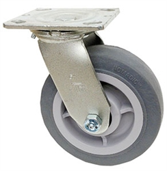 "Medium Duty 6""x 2"""" Swivel Caster TPR Grey Soft Rubber Wheel"