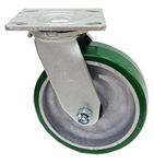 "Medium Duty 6""x 2"""" Swivel Caster Polyurethane on Aluminum Wheel"