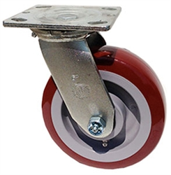"Medium Duty 6""x 2"""" Swivel Caster Polyurethane on Polyolefin Blue Wheel"