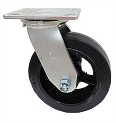 "Medium Duty 6""x 2"""" Swivel Caster Mold on Rubber Wheel"