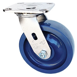 "Stainless Steel Medium Duty 6""x 2"" Swivel Caster Solid Polyurethane Blue Wheel"