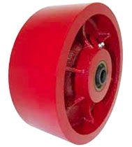 "6""x 2"" Ductile Steel Wheel Red Roller Bearing"