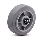 "6""x 2"" Soft Grey Rubber, Non Marking Wheel with Roller Bearing"