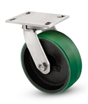"Heavy Duty Kingpinless Swivel Caster with a 6"" x 3"" Polyurethane on cast iron wheel"