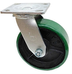 "Medium Duty 8""x 2"""" Swivel Caster Polyurethane on Cast Iron Wheel"