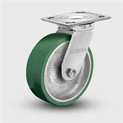 "Medium Duty Polyurethane on Aluminum 8 x 2"" Swivel Caster, Albion"