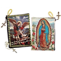 "Our Lady Guadalupe St Michael Two Sided Rosary Pouch 5 3/8""x4"""
