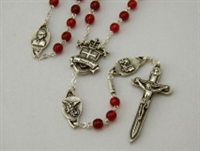 Warrior Rosary 6MM Red Bohemian Glass