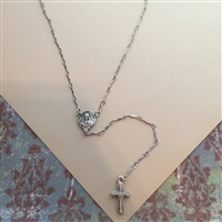 Sacred Heart and Cross Necklace
