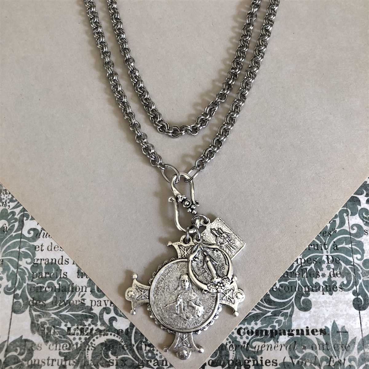 West Coast Jewelry Sterling Silver Antiqued Saint John Medal