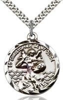 "St Christopher Sterling Silver on 24"" Chain"