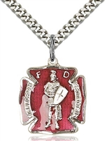 "St Florian Red Enamel Sterling Silver Medal on 24"" Chain"