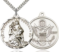 St Christopher Army Sterling Silver 24""