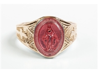 Gold 14KT Pink Enamel Miraculous Ring