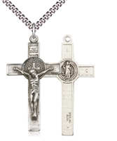 "St. Benedict Crucifix Sterling Silver on 24"" Chain"