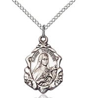 "St. Therese of Lisieux Sterling Silver on 18"" Chain"