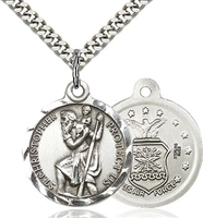 St Christopher Air Force Sterling Silver 24""