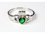 Claddagh Ring With Emerald Accent Stone