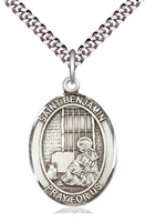 "St Benjamin Sterling Silver Medal on 24"" Chain"