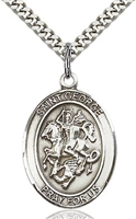 "St. George Sterling Silver on 24"" Chain"