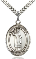 "St. Stephen the Martyr Silver on 24"" Chain"