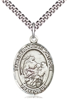 "St Bernard of Montjoux Sterling Silver Medal on 24"" Chain"