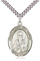 "St Basil the Great  Silver Medal on 24"" Chain"